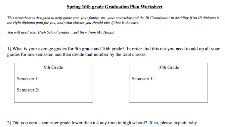 10th grade IB worksheet