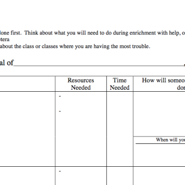 Graphic organizer to help students plan