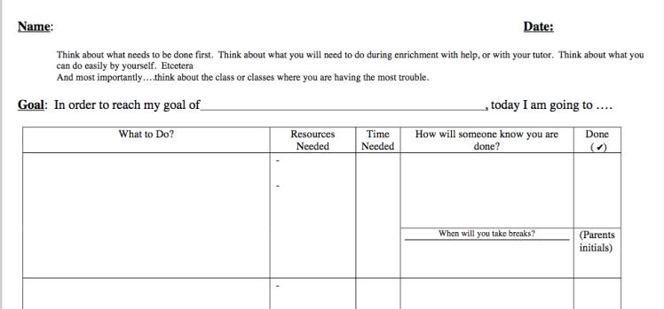 Graphic organizer to help students plan
