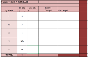 This is an image of the spreadsheet I use to track the students accommodations assessment scores