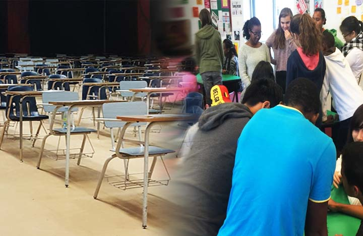 This is an image that Beckett Haight made that on the left shows a bunch of desks all next to eachother, and then it blurs into a photo of students standing up and working collaboratively.