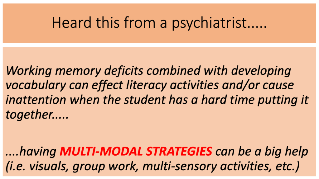 A little quote that says that working memory deficits combined with developing vocabulary can effect literacy activities and/or cause inattention when the student has a hard time putting it together. Having multi-modal strategies can be a big help (i.e. visuals, group work, mulit-sensory activities, etc.)