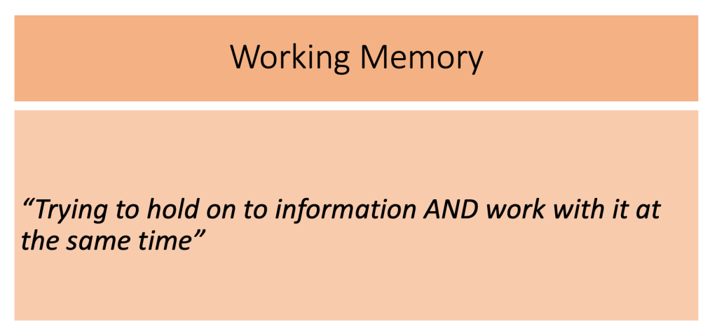 "This is an image of the definition of working memory. It says ""Trying to hold on to information and work with it at the same time""."