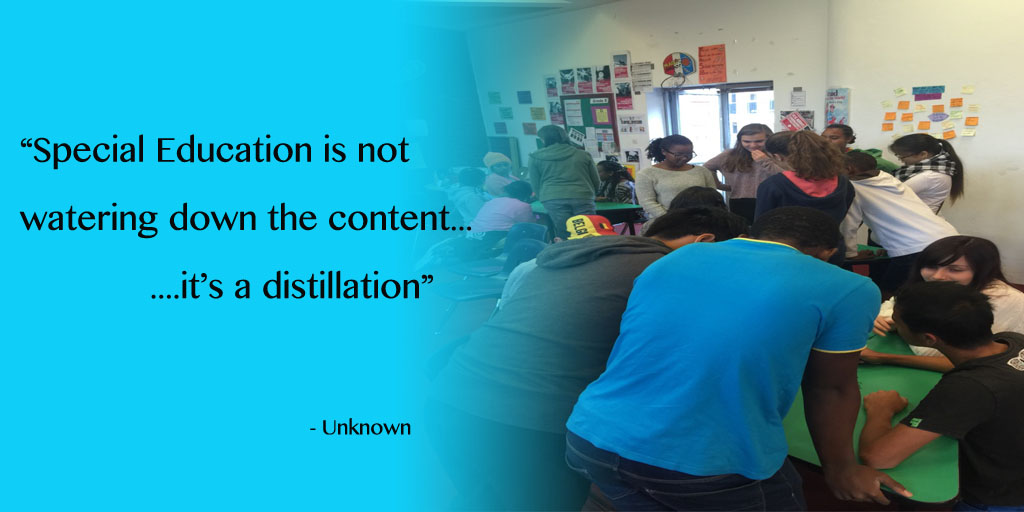 This is a picture with a quote that says that special education is not a watering down of the content...it's a distillation